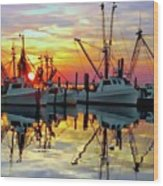 Marshallberg Harbor Sunset Wood Print