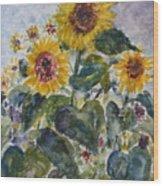 Martha's Sunflowers Wood Print