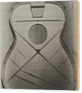 Martin Guitar - No Guts No Glory In Sepia Wood Print