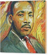 Martin Luther King Portrait 2 Wood Print