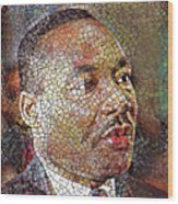 Martin Luther King Portrait Mosaic 1 Wood Print