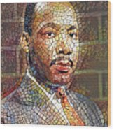 Martin Luther King Portrait Mosaic 2 Wood Print