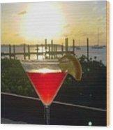 Martini At Sunset II Wood Print