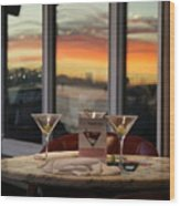 Martini At Sunset Wood Print