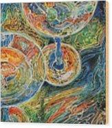 Martini Bar A Fine Art Batik By M Baldwin Wood Print