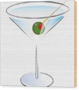 Martini Glass Wood Print