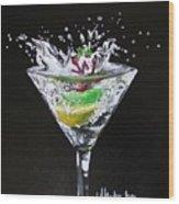 Martini Splash Wood Print