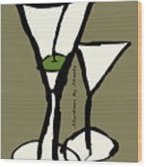 Martini With Green Background Wood Print