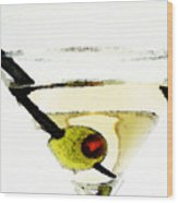 Martini With Green Olive Wood Print