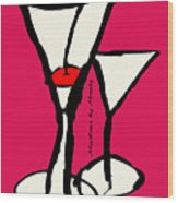 Martini With Pink Background Wood Print