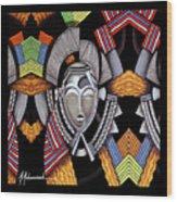 Maruvian Silver Mask Wood Print