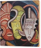 Maruvian Society Masks Wood Print