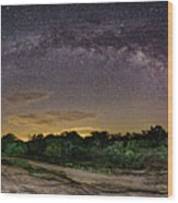 Marveling At The Creation Of God - Milky Way Panorama At Enchanted Rock - Texas Hill Country Wood Print