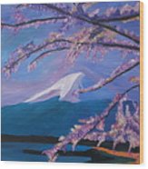 Marvellous Mount Fuji With Cherry Blossom In Japan Wood Print