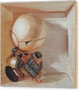 Marvin, Paranoid Android In A Box Wood Print