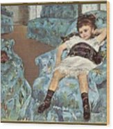 Mary Cassatt-little Girl In A Blue Armchair1878 Po Amp 059 Mary Cassatt Wood Print