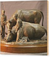 Mary Feilding Smith Praying For Her Ox Bronze Sculpture Wood Print