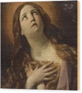 Mary Magdalene In Ecstasy At The Foot Of The Cross 1629 Wood Print
