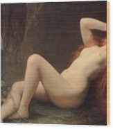 Mary Magdalene In The Cave Wood Print by Jules Joseph Lefebvre