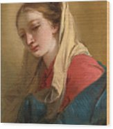 Mary Magdalene In Three-quarter View Veiled In A White Cloth Wood Print