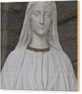Mary Statue At Sacred Heart In Tampa Wood Print