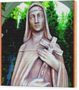 Mary With Cross Wood Print