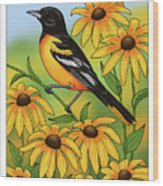 Maryland State Bird Oriole And Daisy Flower Wood Print