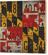Maryland State Flag Recycled Vintage License Plate Art Wood Print