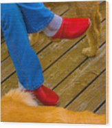 Marys Red Shoes Wood Print