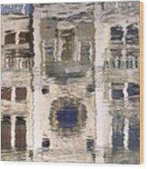 Marzaria Clocktower Reflection Wood Print