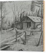 Ma's Barn And Truck Wood Print