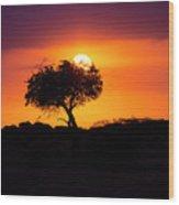 Masai Mara Sunrise Wood Print