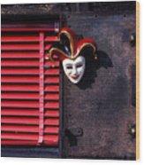 Mask By Window Wood Print