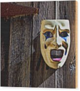 Mask On Barn Door Wood Print