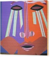 Mask With Streaming Eyes Wood Print