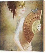 Masked Lady Wood Print