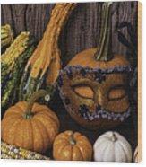 Masked Pumpkin Wood Print