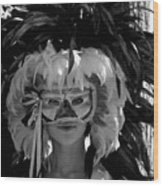 Masked Woman Wood Print