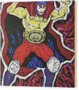 Masked Wrestler Collaboration Wood Print