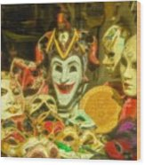 Masks Of Venice Wood Print