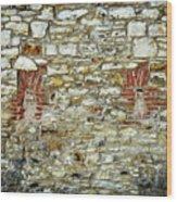 masonry Locked windows on the stone wall Wood Print