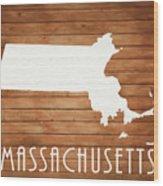 Massachusetts Rustic Map On Wood Wood Print