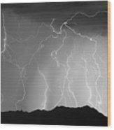 Massive Monsoon Lightning Storm Bw Wood Print