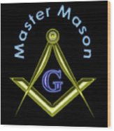 Master Mason In Black Wood Print