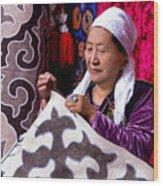 Master Of Kyrgyz National Carpet - Shyrdak  Wood Print