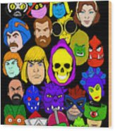 Masters Of The Universe Collage Wood Print