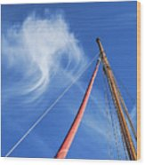 Masts And Clouds Wood Print