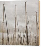 Masts In Sepia Wood Print