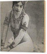 Mata Hari Sketch Wood Print