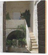 Matera, Italian Courtyard Wood Print